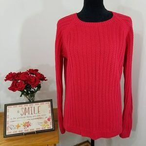 GAP Red 100% Cotton Crochet Knit Hi-Lo Sweater
